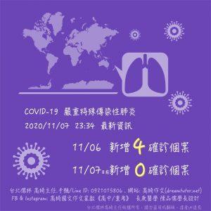 COVID-19 2020/11/7 更新最新資訊