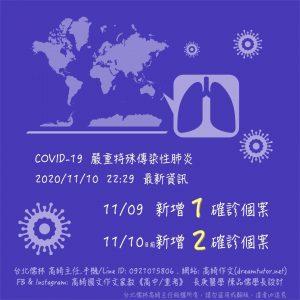 COVID-19 2020/11/10 更新最新資訊