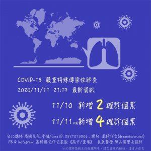 COVID-19 2020/11/11 更新最新資訊