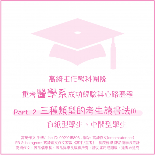 決定重考的心路歷程:part 2 三種類型的考生讀書法(I) 白紙型、中間型學生